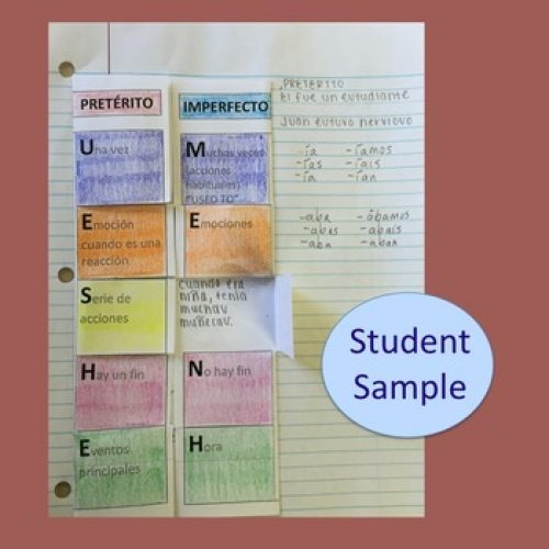 Spanish Preterite Imperfect Foldable Interactive Notebook Activities