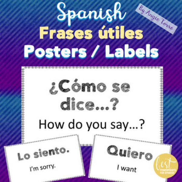 Spanish Posters Labels for Useful, High-Frequency Phrases, Las frases útiles