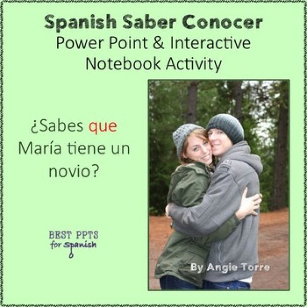 Spanish Saber conocer PowerPoint and Interactive Notebook Activities