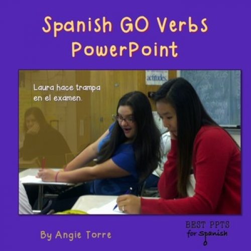 Spanish Go Verbs PowerPoint with a girl cheating
