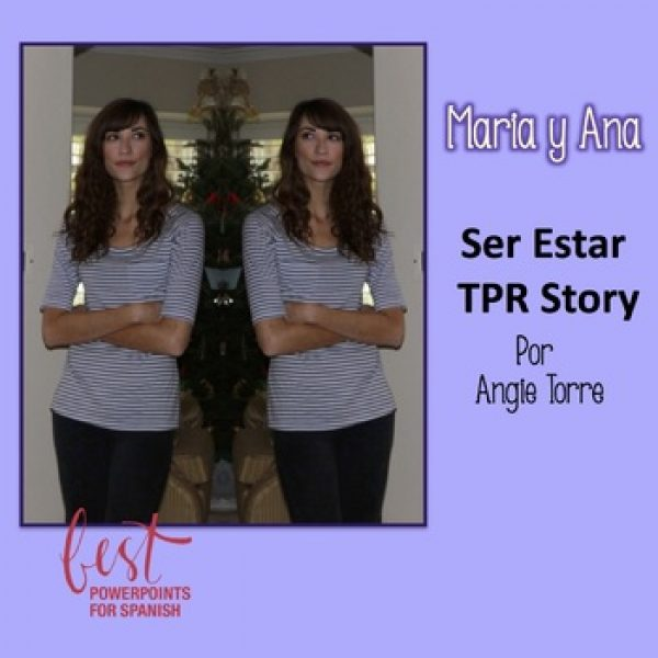 Ser estar TPR Stories and Activities Picture of twins in front of Christmas tree