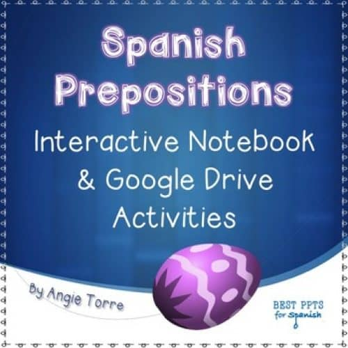 Spanish Prepositions Interactive Notebook Activity & Google Drive Activity