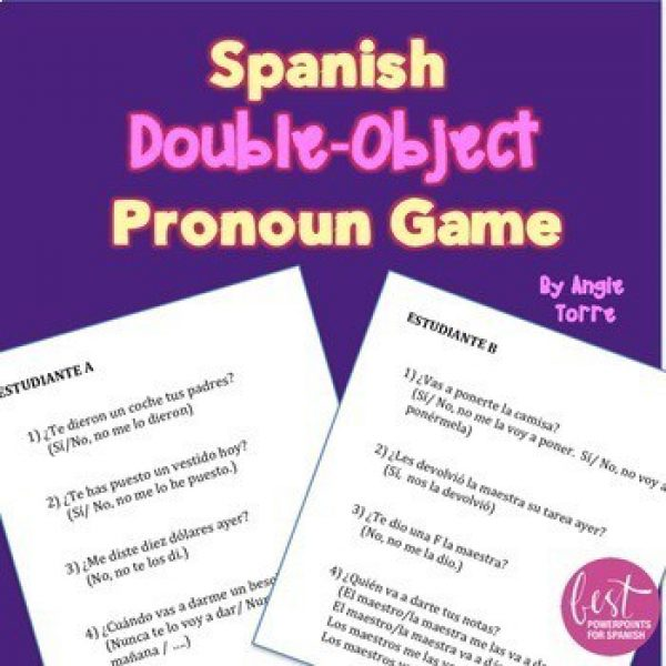 Spanish Double Object Pronoun Game FREE