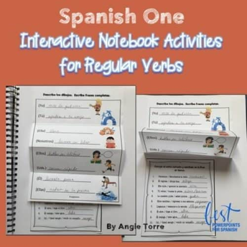Spanish One Interactive Notebook Activities for Regular Verbs