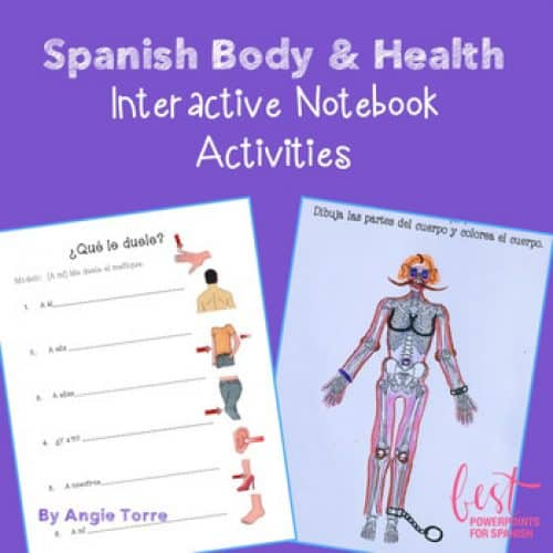Spanish Body and Health Interactive Notebook Activities with picture of skeleton and body parts