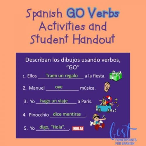 Spanish GO Verbs Activities and Student Handout