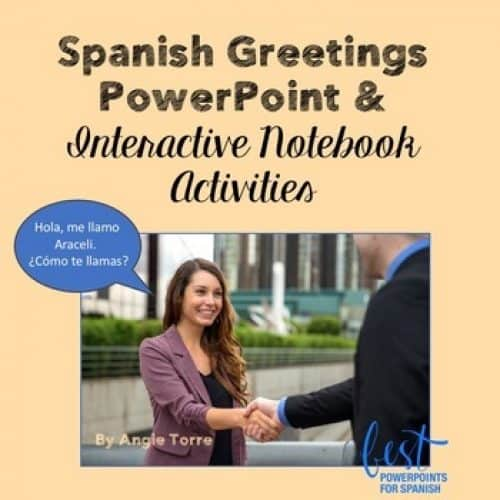 Spanish Greetings PowerPoint and Interactive Notebook Activities. Picture of woman shaking hands with a man.