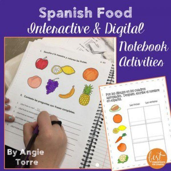 Spanish Food Interactive Notebook Activities