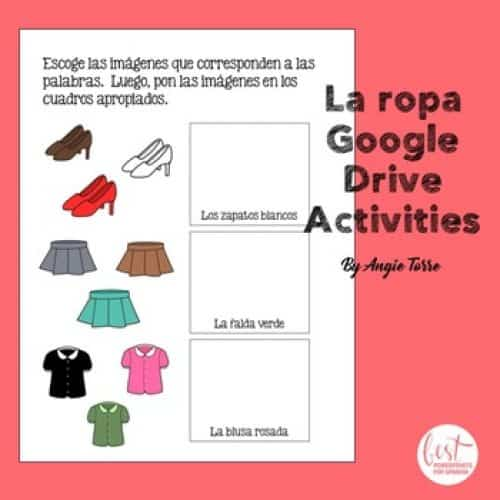 Spanish Clothing Google Drive Activity