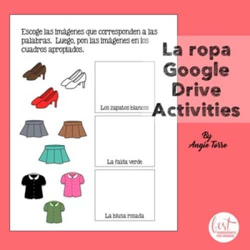 Spanish Clothing Google Drive Activity La ropa Google Drive Activities