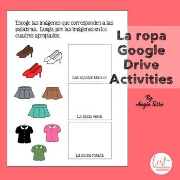 Spanish Clothing Google Drive Activity La ropa Google Drive Activities