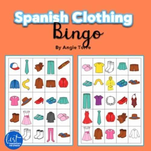 Spanish Clothing La ropa Bingo