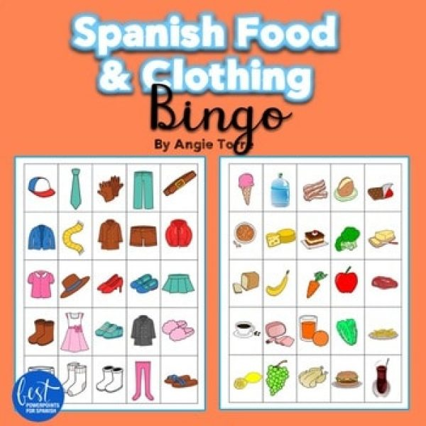 Spanish Food and Clothing Bingo Games
