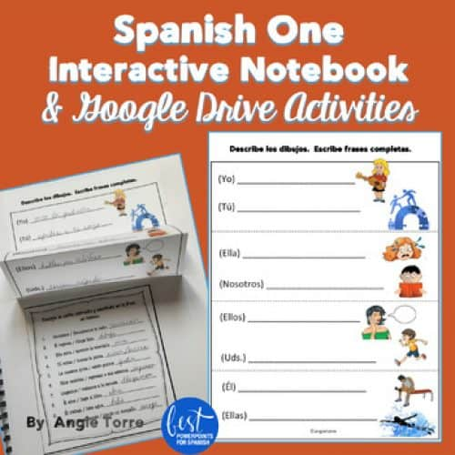 Spanish One Interactive Notebook Activities and Google Drive Activities