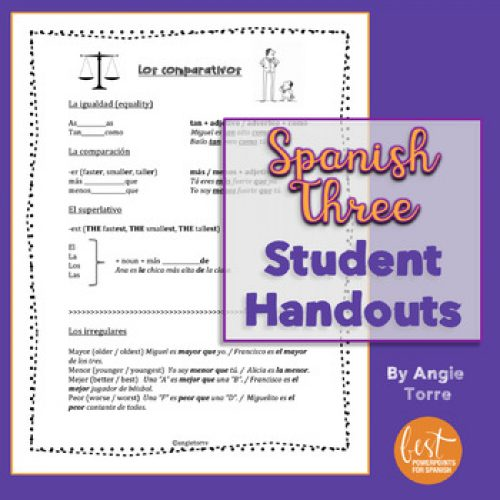 Spanish Three Student Handouts / Cheat-Sheets for an Entire Year