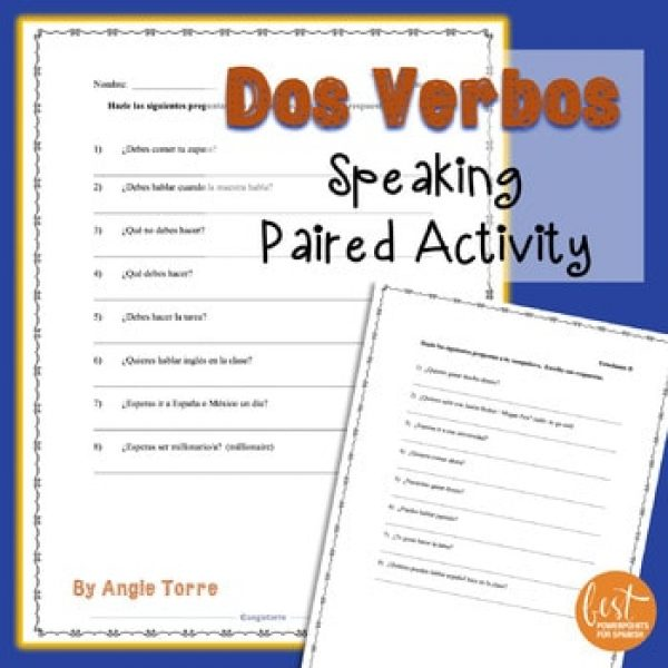 Spanish Speaking Paired Activity for Dos Verbos - Using Two Verbs in a Sentence