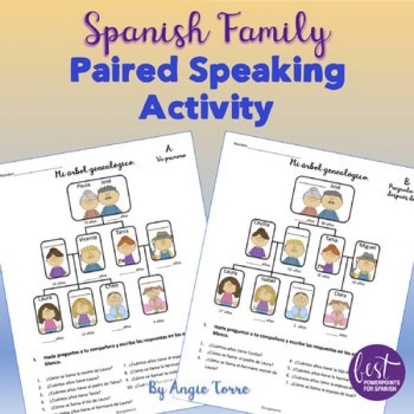 Spanish Family La familia Paired Speaking and Interactive Notebook Activities