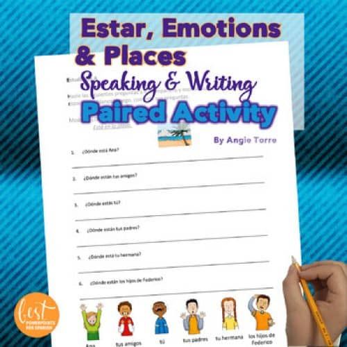 Spanish Estar, Emotions, and Places Paired Speaking Activity