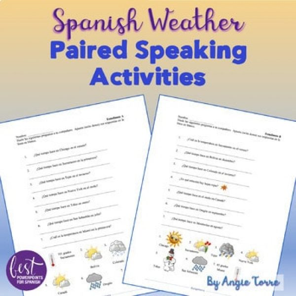 Spanish Weather El tiempo Paired Speaking Activities