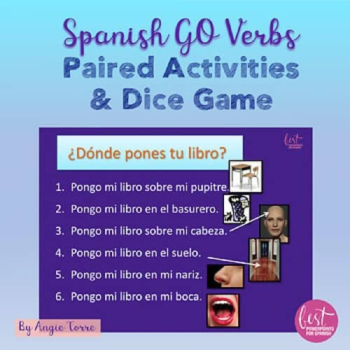 Spanish GO Verbs Speaking Activities Paired Activities and Dice Game
