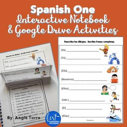 Spanish One Interactive Notebooks Activities and Google Drive Activities