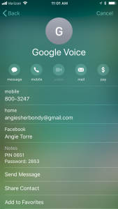 Google Voice on Iphone