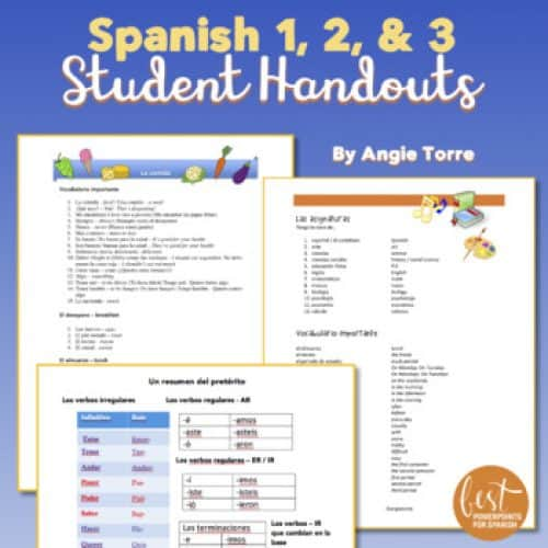 Spanish One, Two, and Three Student Handouts / Cheat-Sheets for an Entire Year
