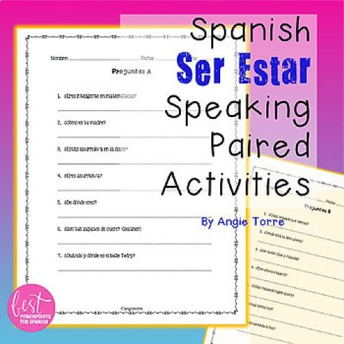 Spanish Ser Estar Paired Speaking Activities and Student Handouts