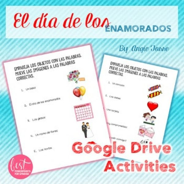 Spanish Google Drive Activities: Valentine's Day Vocabulary San Valentín