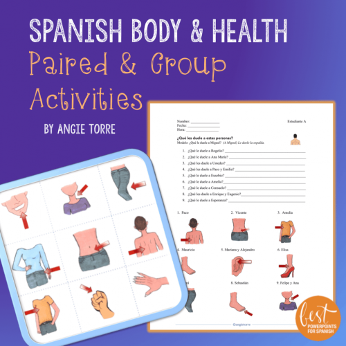 Spanish Body and Health Paired and Group Activities