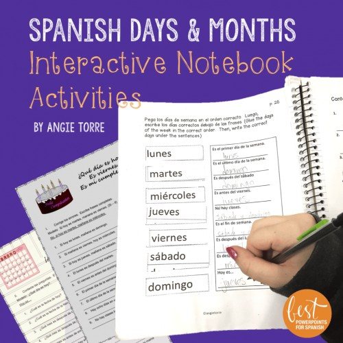 Spanish Days and Months Interactive Notebook Activities
