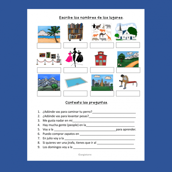 Spanish Places Interactive Notebook Activity