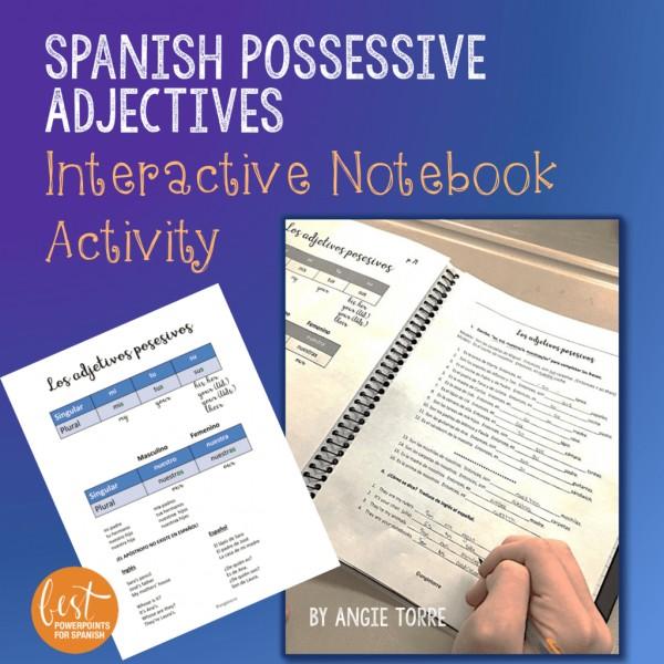 Spanish Possessive Adjectives Interactive Notebook Activity