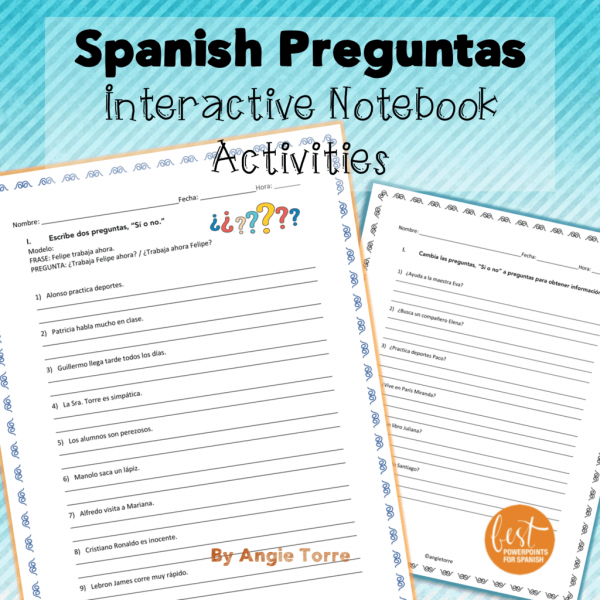 Spanish Preguntas Interactive Notebook Activities
