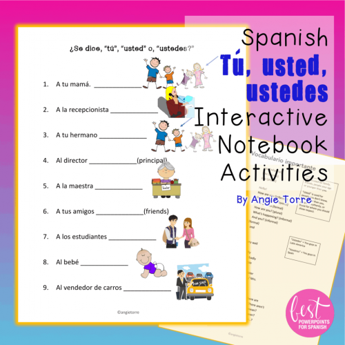 Spanish Tú, usted, ustedes Interactive Notebook Activities