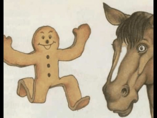Cuentos, TPR Stories, pictue of a ginger bread man running and a horse