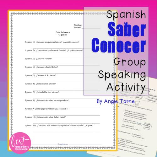 Spanish Saber conocer Group Speaking Activity