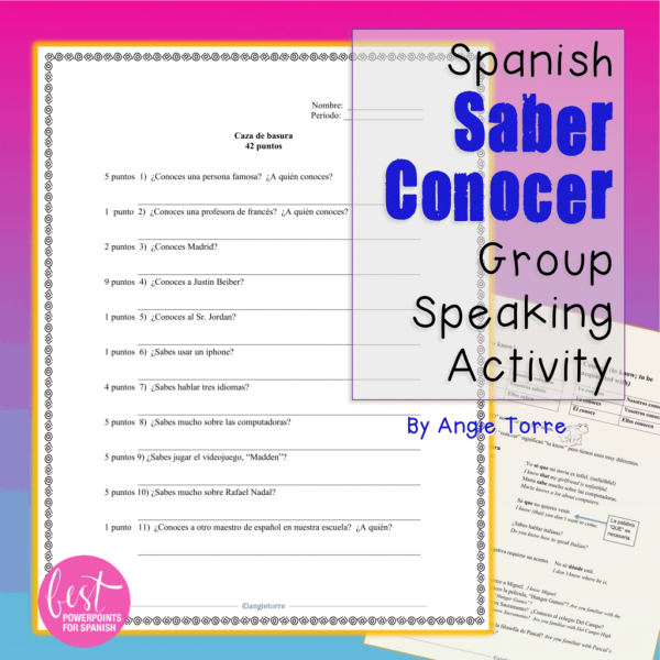 Spanish Saber conocer Group Speaking Activity