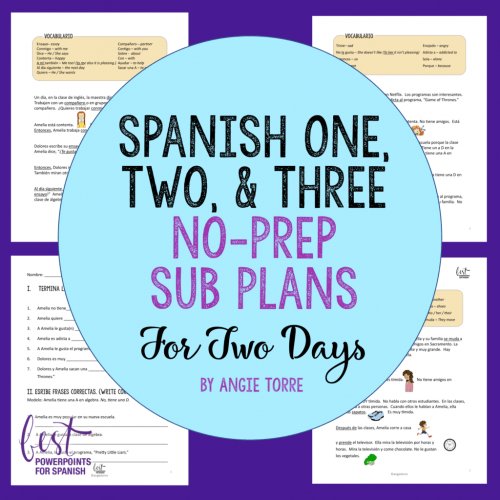 Spanish Sub Plans for Spanish One, Two, and Three for Two Days