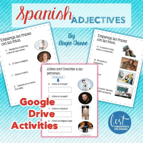 Spanish Adjectives Google Drive Activities
