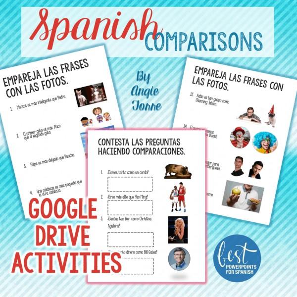 Spanish Comparisons and Superlative Google Drive Activities