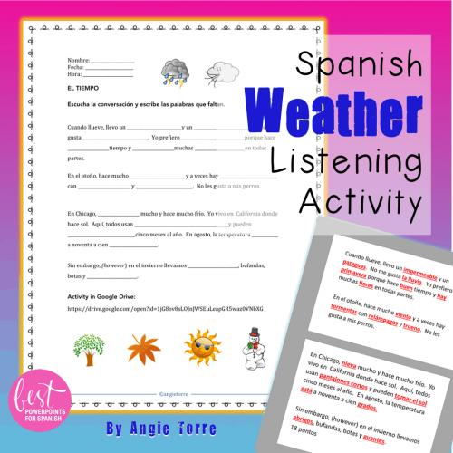 Spanish Weather Listening Activity