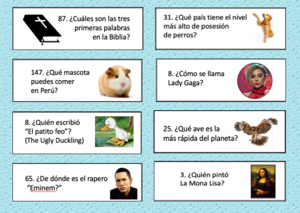 How to Differentiate in the World Language Classroom, Spanish Trivial Pursuit Questions