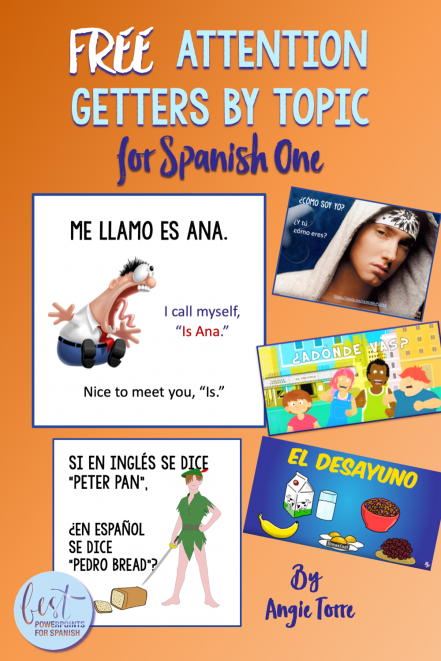 Free Attention Getters by Topic for Spanish One