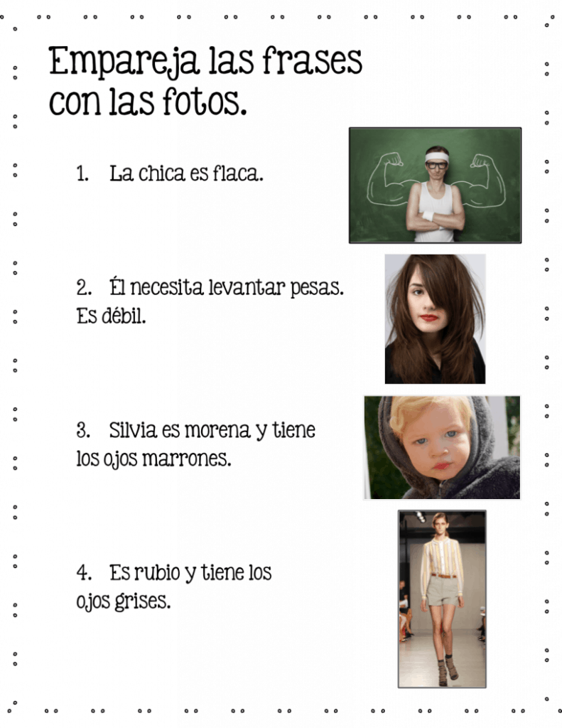 Empareja las frases con las fotos Spanish Adjectives google drive activity