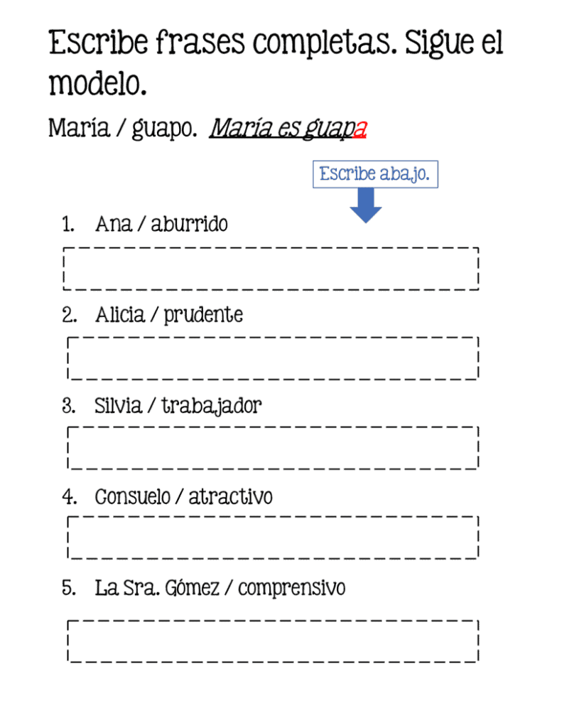 Escribe frases completas. Sigue el modelo. Spanish adjectives google drive activity