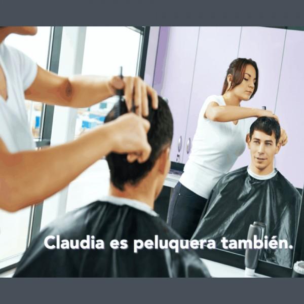 Las profesiones: Claudia es peluquera también.