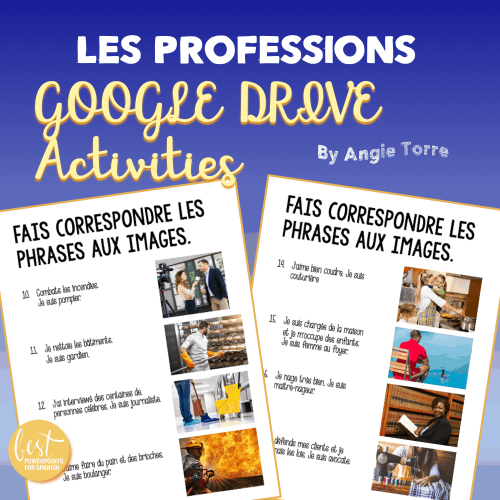 French Professions Google Drive Activities