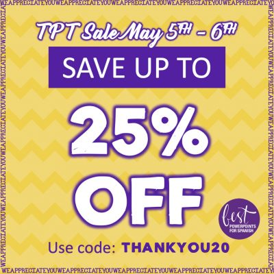 TPT Sale May 5th and 6th Save up to 25% off Use code: THANKYOU20
