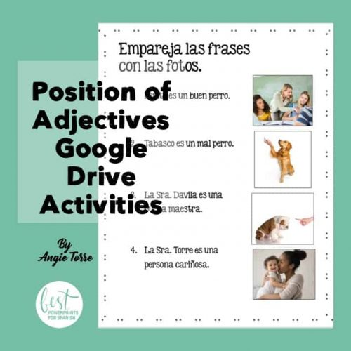 Spanish Position of Adjectives Google Drive Activiites